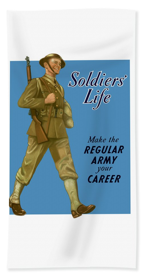 Army Beach Towel featuring the painting Make The Regular Army Your Career by War Is Hell Store