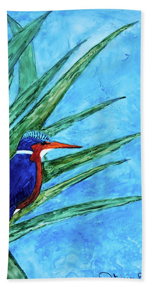 Malachite Kingfisher Beach Towel featuring the painting Malachite Kingfisher by Patricia Beebe