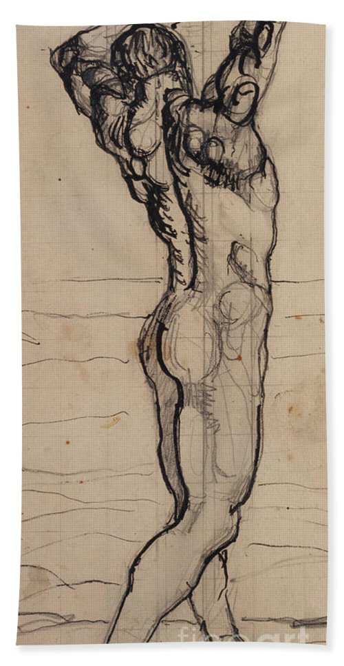 Drawing; Nude; Back View; Stretching; Standing; Full Length; Symbolist; Pen Beach Towel featuring the drawing Male Act  Study For The Truth by Ferdninand Hodler