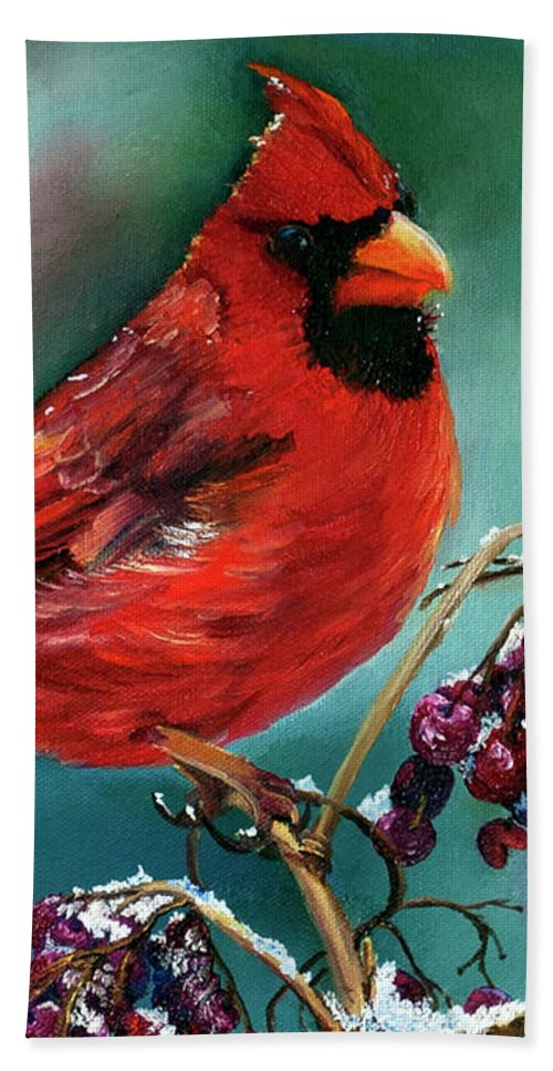 Birds Beach Towel featuring the painting Male Cardinal And Snowy Cherries by Terry R MacDonald