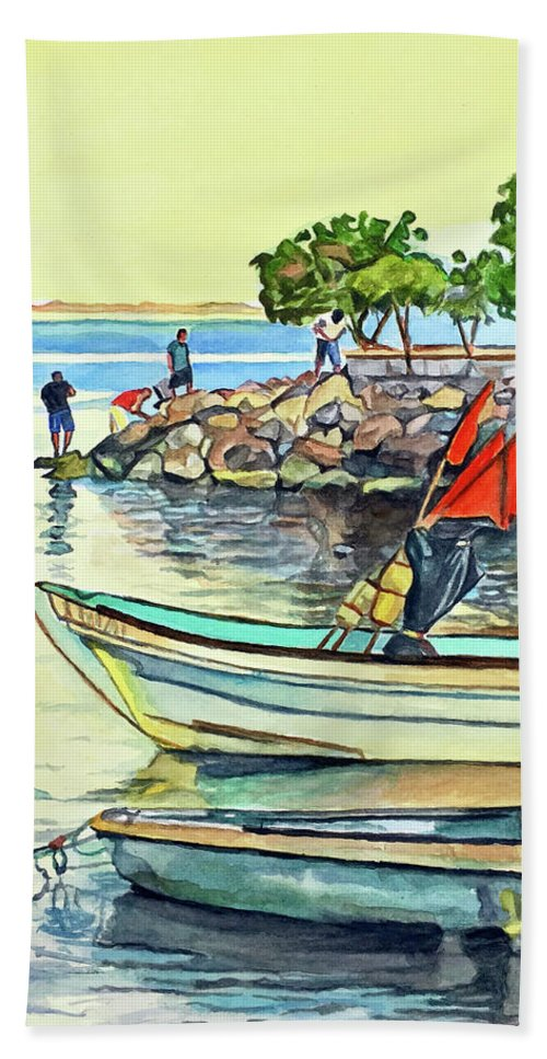 Fishermen Beach Towel featuring the painting Malecon Fishermen by Faythe Mills