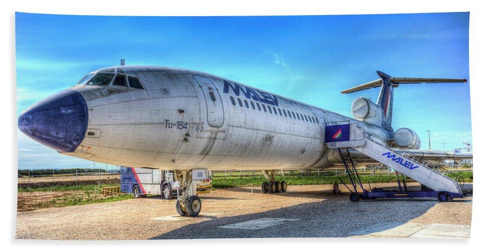 Tupolev Tu-154 Beach Towel featuring the photograph Malev Airlines Tupolev Tu-154 by David Pyatt