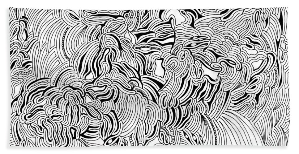 Mazes Beach Towel featuring the drawing Malevolent by Steven Natanson