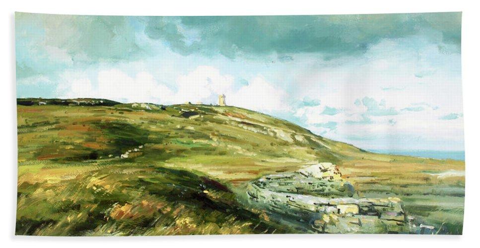 Malin Head Ireland Beach Towel featuring the painting Malin Head Ireland by Conor McGuire