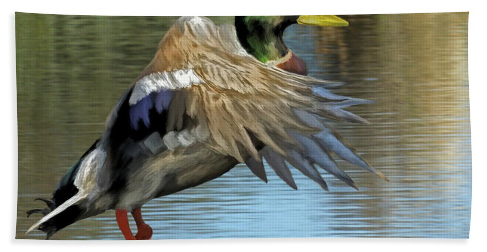 Animals Beach Towel featuring the painting Mallard Digital Freehand Painting 3 by Ernie Echols