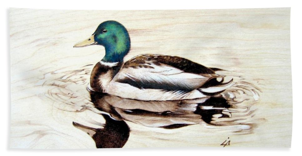 Pyrography Beach Towel featuring the pyrography Mallard by Ilaria Andreucci
