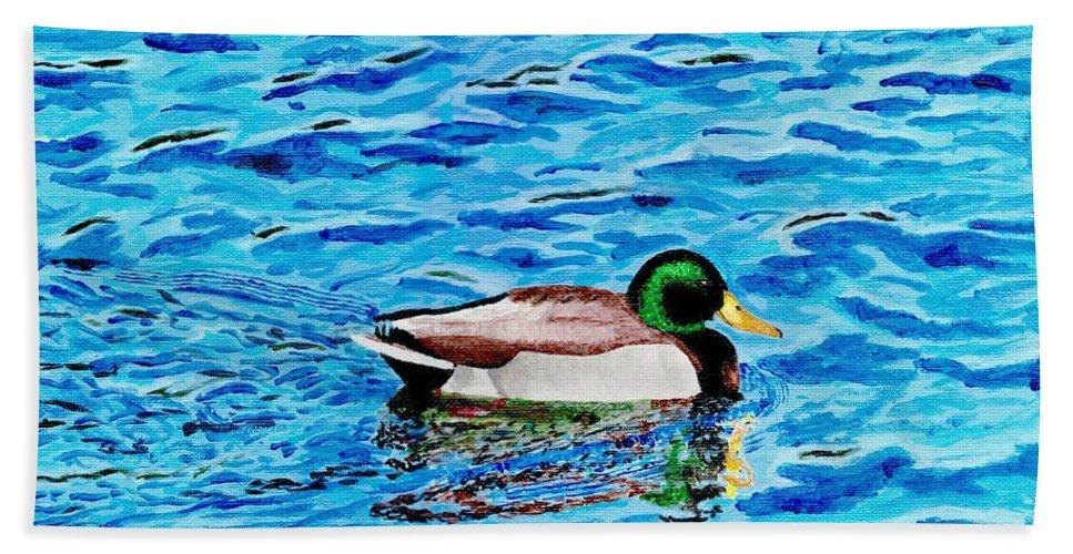 Mallard On Water Beach Towel featuring the painting Mallard On Water by DSC Arts