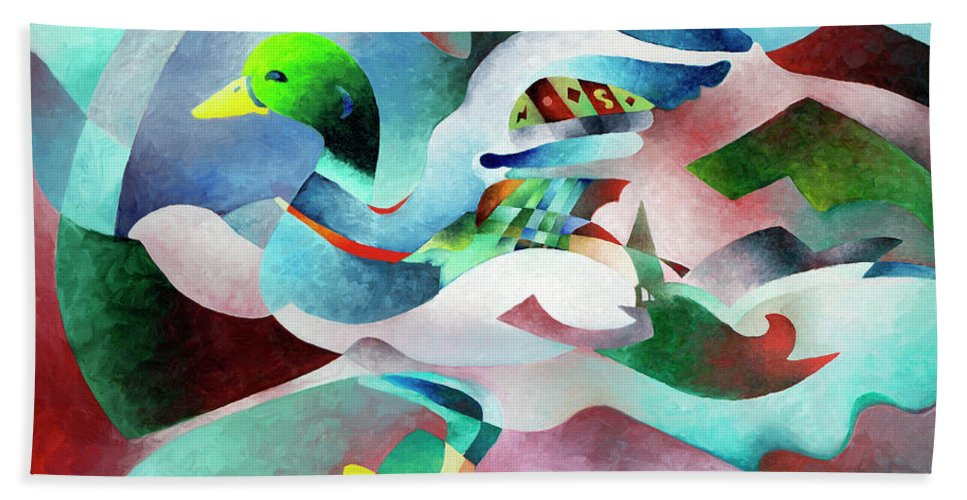Duck Beach Towel featuring the painting Mallard by Sally Trace