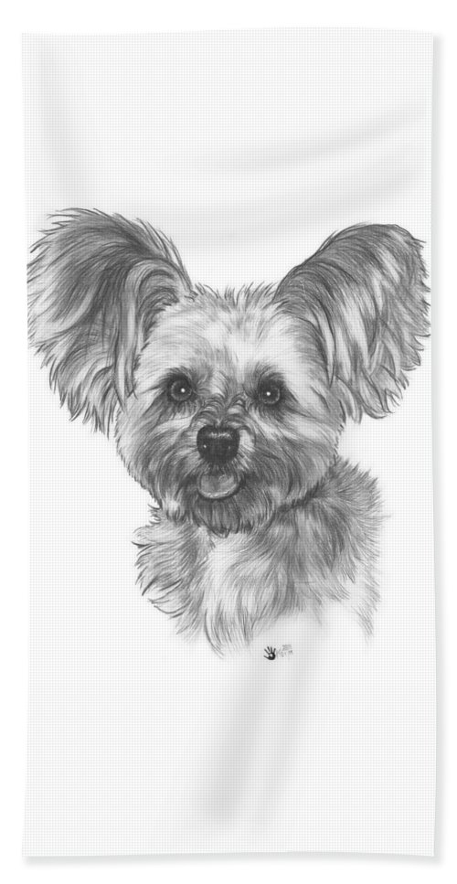 Designer Dog Beach Towel featuring the drawing Malti-pom by Barbara Keith
