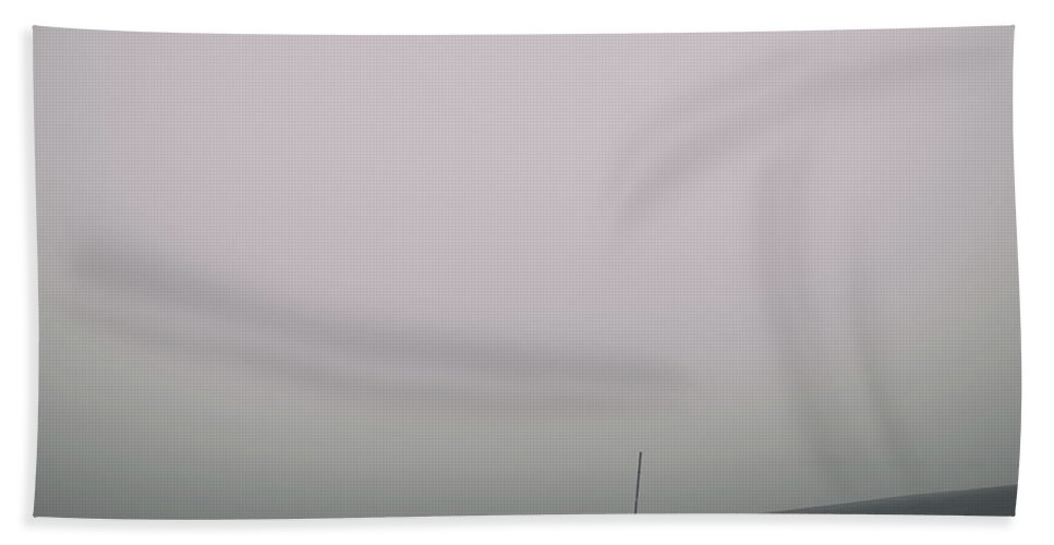Loneliness Beach Towel featuring the photograph Man And Dog And Fog by Kunal Mehra