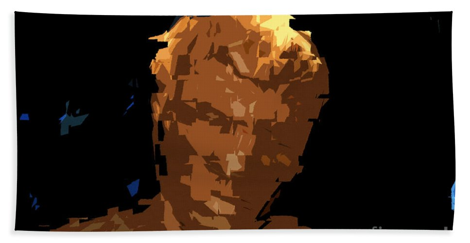 Man.male Beach Towel featuring the painting Man by David Lee Thompson
