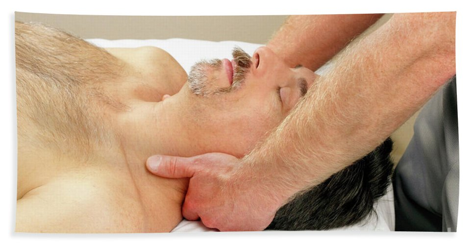 Neck Beach Towel featuring the photograph Man Getting Neck Massage by Lee Serenethos