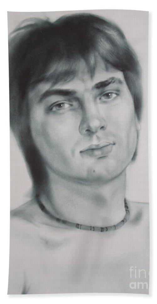 Art Beach Sheet featuring the drawing Man by Sergey Ignatenko