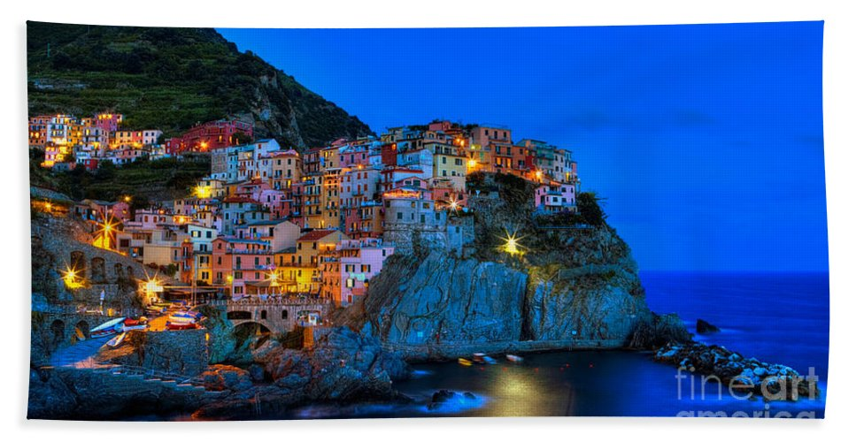 Italy Beach Towel featuring the photograph Manarola - Cinque Terre In Widescape by James Anderson