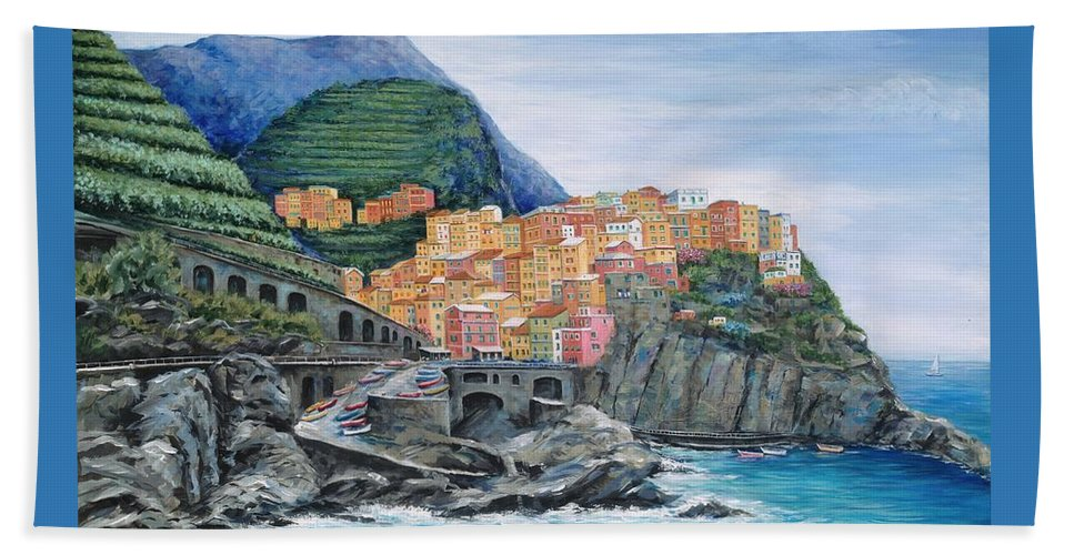 Europe Beach Towel featuring the painting Manarola Cinque Terre Italy by Marilyn Dunlap
