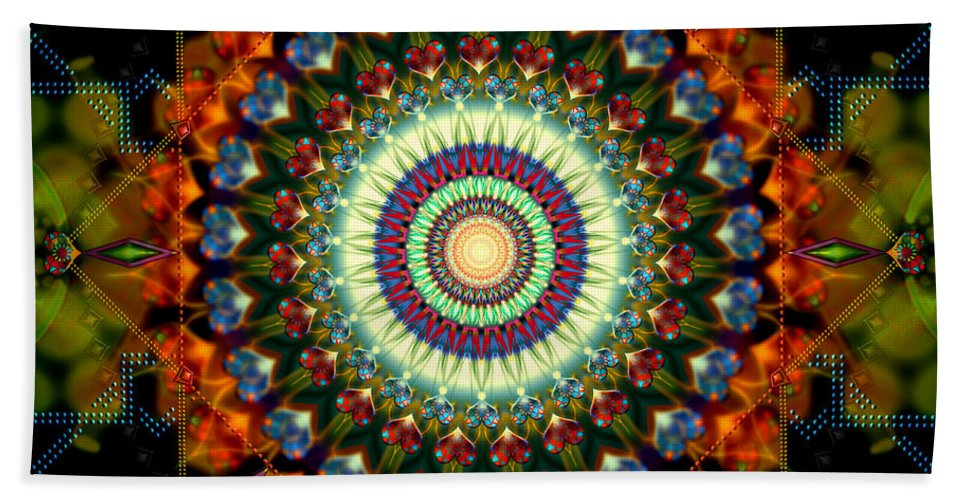 Mandala Beach Sheet featuring the digital art Mandala Of Loves Journey by Stephen Lucas