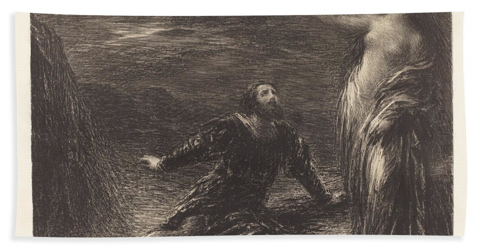 Beach Towel featuring the drawing Manfred And Astarte (2nd Plate) by Henri Fantin-latour