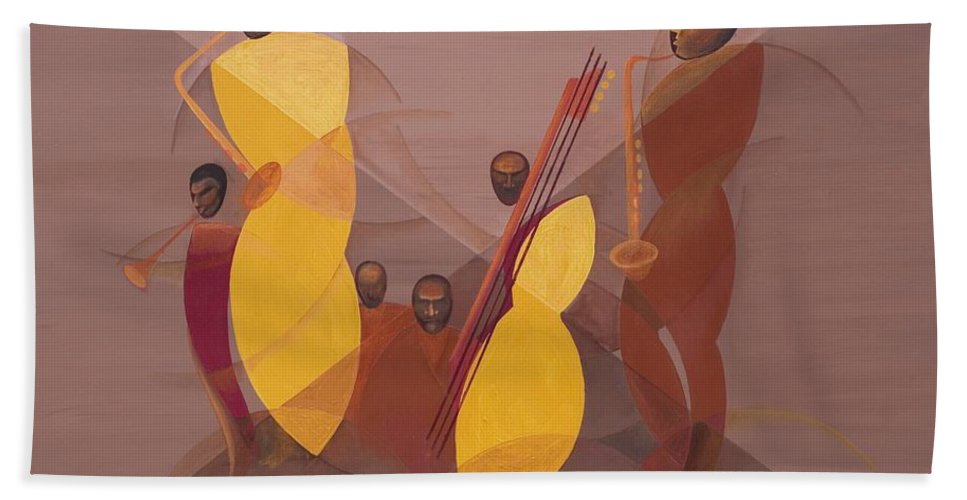 Mango Jazz Beach Towel featuring the painting Mango Jazz by Kaaria Mucherera