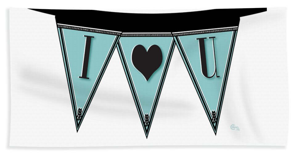 Love Beach Towel featuring the digital art Pennant Deco Blues Streamer Sign I Love You by Cecely Bloom