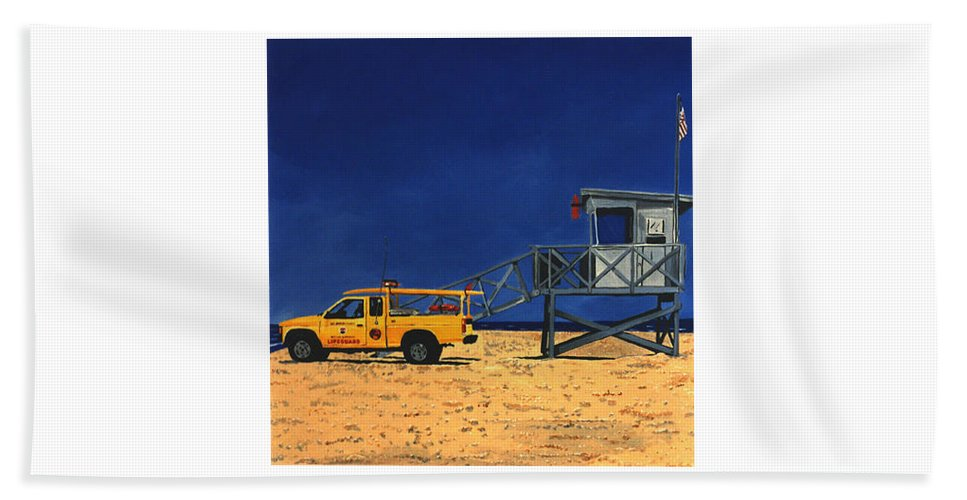 Modern Beach Towel featuring the painting Manhattan Beach Lifeguard Station Side by Lance Headlee