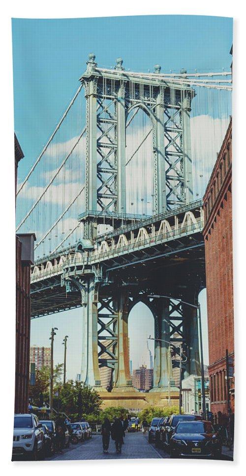 Manhattan Beach Towel featuring the photograph Manhattan Bridge by Lorrie Joaus