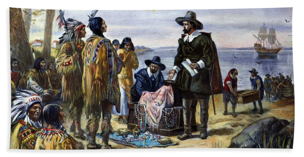 1626 Beach Towel featuring the photograph Manhattan Purchase, 1626 by Granger
