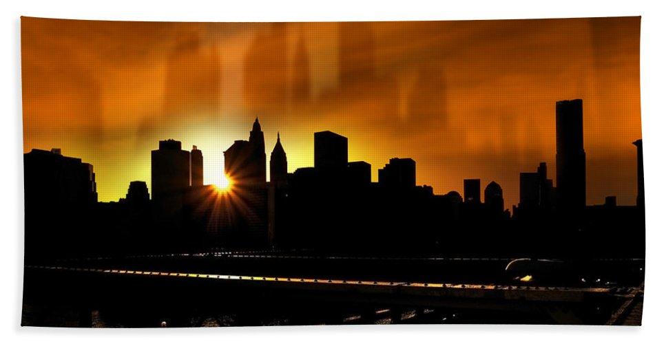 America Beach Towel featuring the photograph Manhattan Silhouette by Svetlana Sewell