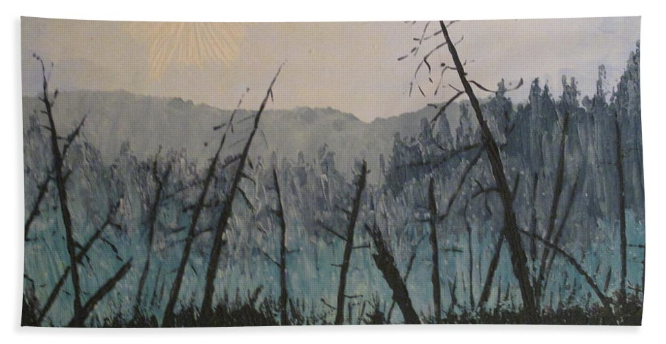 Northern Ontario Beach Towel featuring the painting Manitoulin Beaver Meadow by Ian MacDonald