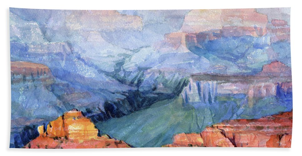 Grand Canyon Beach Towel featuring the painting Many Hues by Steve Henderson