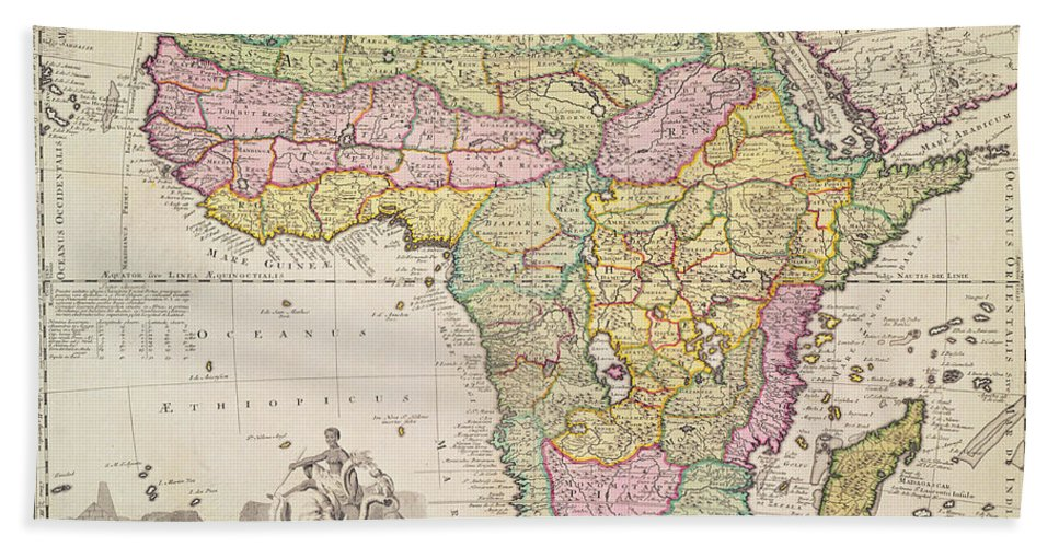 Map Beach Towel featuring the drawing Map Of Africa by Pieter Schenk
