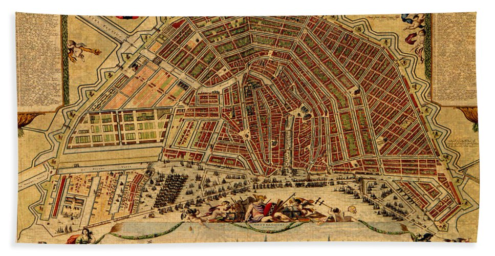 Map of amsterdam netherlands holland vintage street map schematic map of amsterdam beach towel featuring the mixed media map of amsterdam netherlands holland vintage street publicscrutiny Images