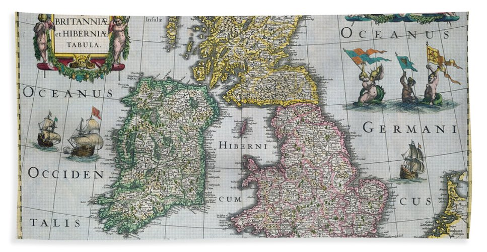 Map Beach Towel featuring the drawing Map Of Britain by English school