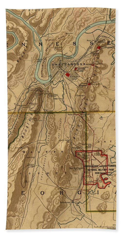 Map Of Chattanooga Beach Towel featuring the photograph Map Of Chattanooga 1895 by Andrew Fare