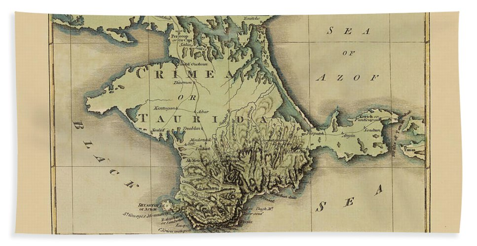 Map Of Crimea Beach Towel featuring the photograph Map Of Crimea 1815 by Andrew Fare