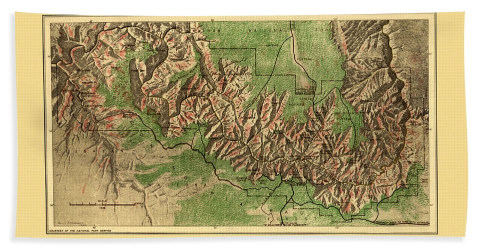 Grand Canyon Beach Towel featuring the photograph Map Of Grand Canyon 1926 by Andrew Fare
