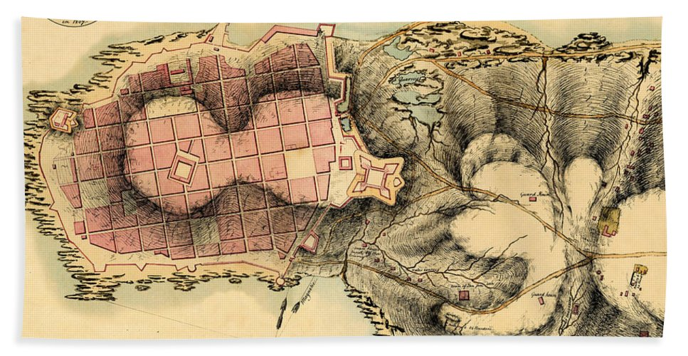 Map Of Montevideo Beach Towel featuring the photograph Map Of Montevideo 1808 by Andrew Fare