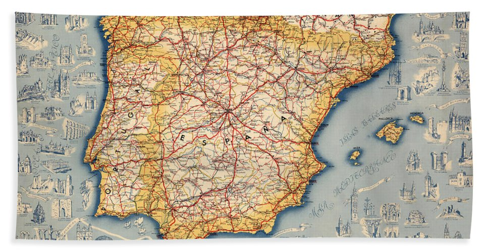 Map Of Spain For Sale.Map Of Spain 1950 Beach Towel