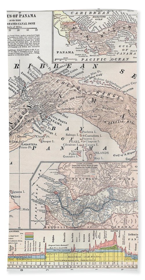 1907 Beach Towel featuring the photograph Map: Panama, 1907 by Granger