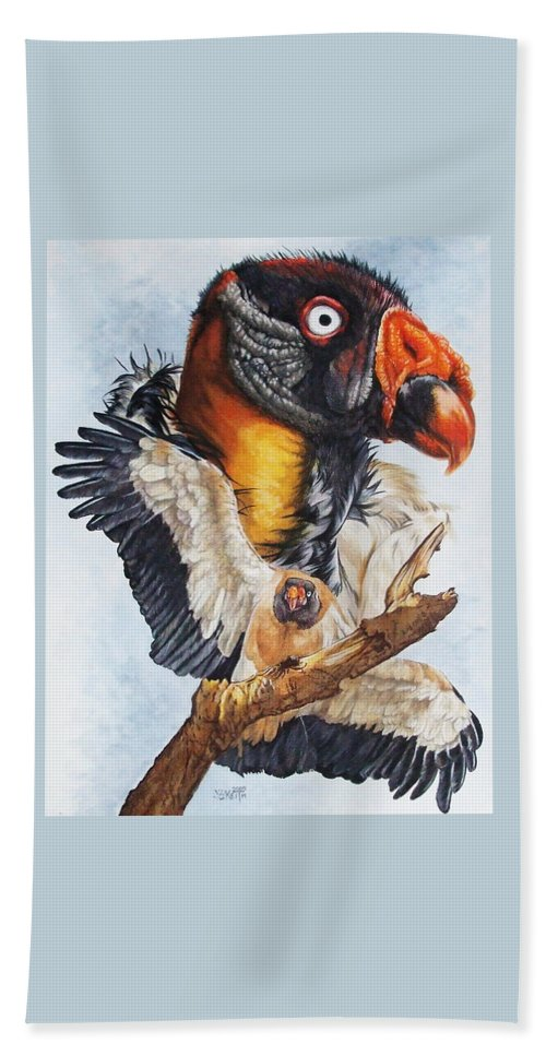 Vulture Beach Towel featuring the mixed media Marauder by Barbara Keith