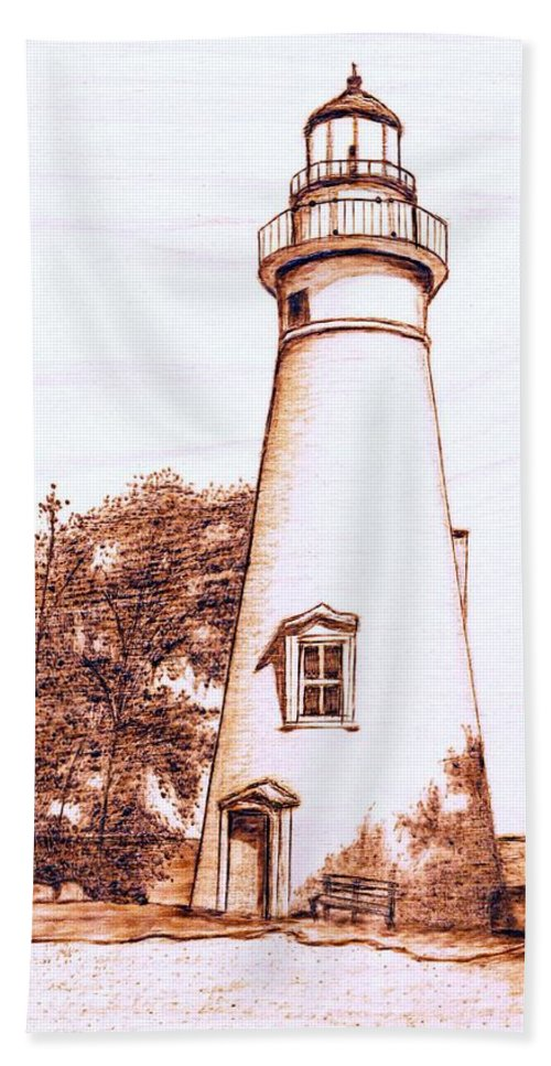 Lighthouse Beach Towel featuring the pyrography Marblehead Lighthouse by Danette Smith