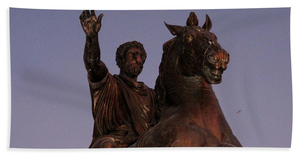 Horse Beach Towel featuring the photograph Marcus Aurelius Statue Rome by John Malone