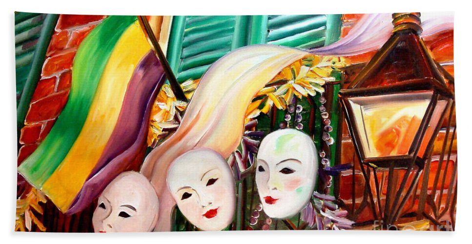 New Orleans Beach Towel featuring the painting Mardi Gras Balcony by Diane Millsap