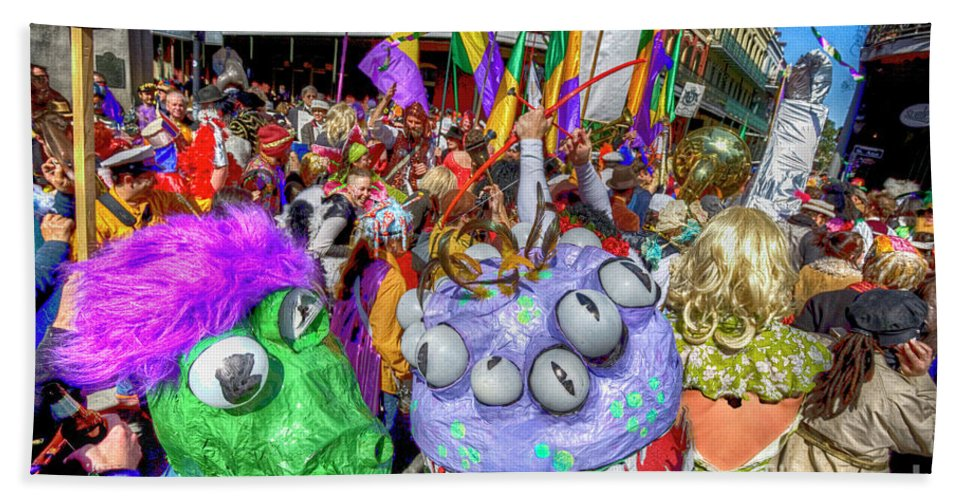 New Orleans Photography Beach Towel featuring the photograph Mardi Gras Mob by Alex Demyan