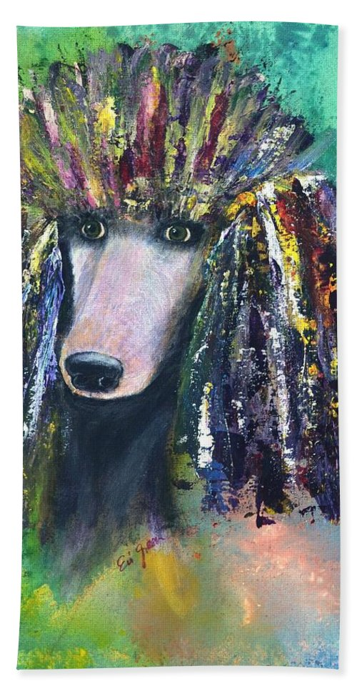 Mardi Gras Beach Towel featuring the painting Mardi Gras Poodle by Evi Green