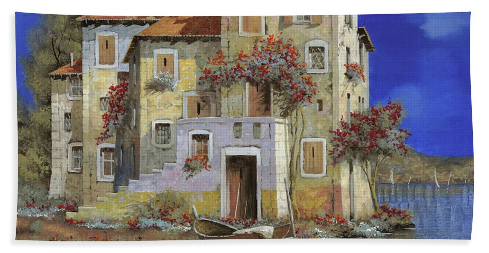 Landscape Beach Towel featuring the painting Mareblu' by Guido Borelli