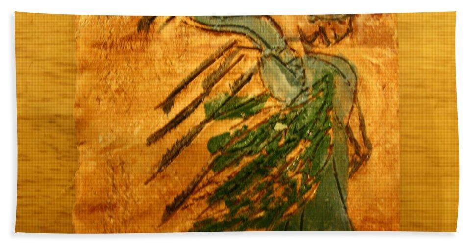 Jesus Beach Towel featuring the ceramic art Maria - Tile by Gloria Ssali
