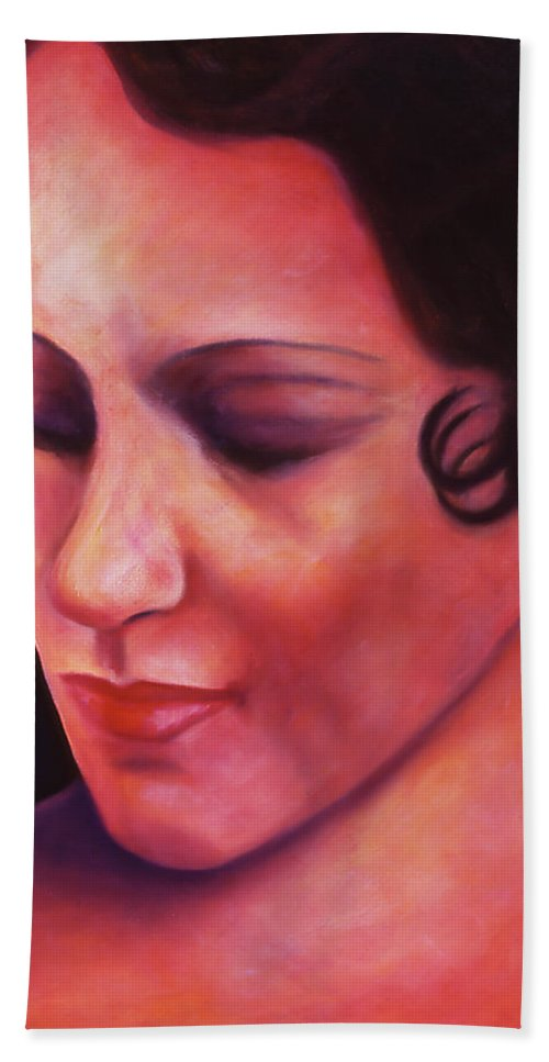 Portrait Beach Towel featuring the painting Maria Ave by Shannon Grissom