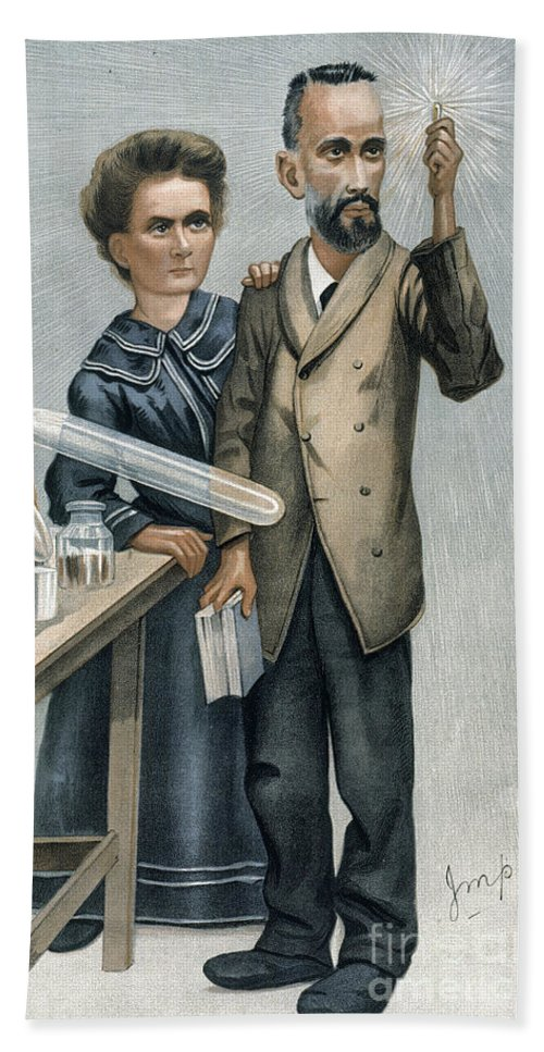 1904 Beach Towel featuring the photograph Marie And Pierre Curie by Granger