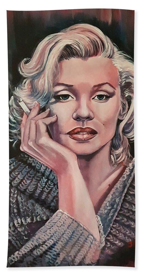 Marilyn Monroe Beach Towel featuring the painting Marilyn by Jackie Martin
