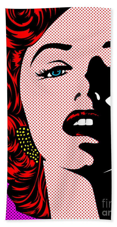 Marilyn Beach Towel featuring the digital art Marilyn02-2 by Bobbi Freelance